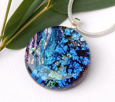 Random Pink and Blue Dichroic Glass Necklace - Round Art Glass Pendant - Fused Glass Jewelry by TremoughGlass on Etsy