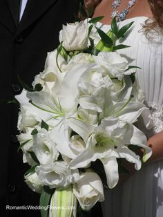 White lily and rose bouquet...bridemaids bouquet