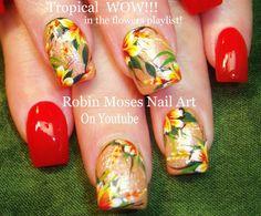 Nail Art Tutorial | Easy Flower Nails | Coral Tropical Glitter Nail Design