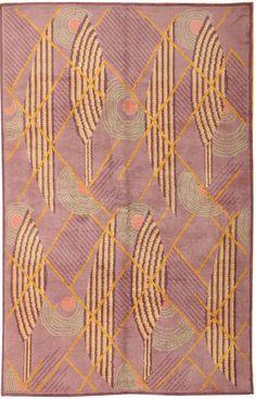 wonderful optics... French Art Deco Rug mauve/lavender/multi c.1920's wool/silk  France