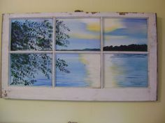 ORIGINAL-ACRYLIC-PAINTING-ON-ANTIQUE-WINDOW-OF-A-LAKE-SCENE-AT-SUNSET