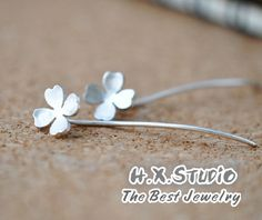 Handmade Sterling Silver Lucky Clover Earring, 925 Silver Ear Studs, Teenage Ear Studs, Valentine, Bridesmaid Earrings, Bridal, Wedding