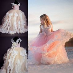 Lace Flower Girl Dresses Pink Flowers Custom Tutu Birthday Party Ball Gowns 2016