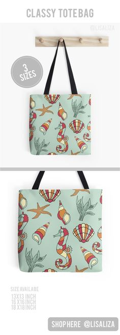 Marine Seahorse Seashell Pattern Tote Bags Explore a wide range of tote bag design from lisaliza@Redbubble Store. Shop tote bags in original artwork carry them everyday everywhere you go  Show Your Personality !  All artwork printed on High Quality and du