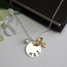 Stamped letter necklace