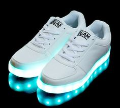 Light up shoes for adults and kids. UK-based, with free returns and exchanges. The perfect gift this Christmas, with 8 colour modes and a rechargeable battery. Light Up Sneakers, Light Up Shoes, Lit Shoes, Shoes Uk, Shoes Sneakers, Creative Shoes, White Led Lights, Color Change, Beams