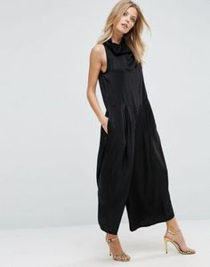 ASOS Luxe Roll Neck Jumpsuit in Satin