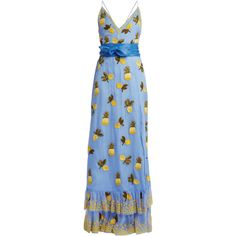 Altuzarra Artesia pineapple-print silk gown (€6.885) ❤ liked on Polyvore featuring dresses, gowns, gown, blue multi, couture gowns, blue sequin gown, sequined dresses, beaded evening gowns and silk evening gowns