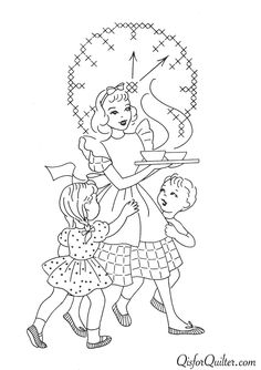 Q is for quilter: Vintage embroidery patterns superior132 kitchen motifs 5/6 - for kitchen towel and linen