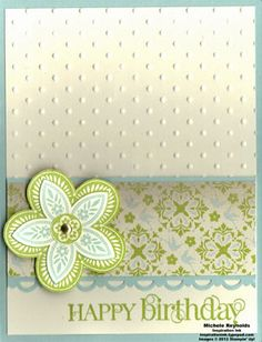 SU - Triple Treat Flower and Curly Cute Clear-Mount Set plus Pool Party Card Stock, Very Vanilla Card Stock, Pool Party Classic Stampin' Pad, Lucky Limeade Classic Stampin' Pad, Everyday Enchantment Sale-A-Bration Designer Series Paper