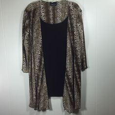 Womens Plus 1X XL Maggie Barnes Top Brown Black Animal Print 2fer Stretch Blouse