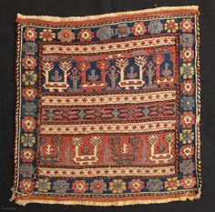 Shahsavan Sumak Bagface,mid 19th century or earlier,55x60cm,early and beautiful example of this group.