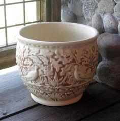 Weller Pottery Clinton Ivory Jardiniere by RiverHouseArtPottery, $110.00