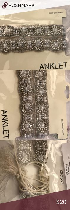 BNIP, Set of 2,FAUX PEARL BEADED ANKLET BRACELETS BRAND NEW IN PACKAGE, SET OF 2, FAUX PEARL BEADED ANKLET BRACELETS!!!  ONE SIZE FITS MOST!  THEY HAVE TIES SO THE SIZE CAN BE ADJUSTED TO YOUR COMFORT LEVEL.  THE TIES ARE WHITE AND TERMINATE IN FRINGE. Will look beautiful with your party dress!  A sure eye catcher! Perfect for someone's Stocking Stuffer!  More pics and info available upon request. No Smoking Home. Thank you for looking & Wishing you a blessed day! icon collection Jewelry…