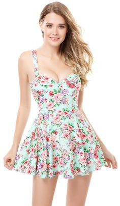 One-Piece Beach Wear Floral Skirted Siamese A-line Skater Swimsuit at Amazon Women's Clothing store: