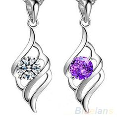 0.51$  Buy here - Fashion Women's Crystal Rhinestone Silver Plated Pendant For Necklace Chain  1PAW   #bestbuy