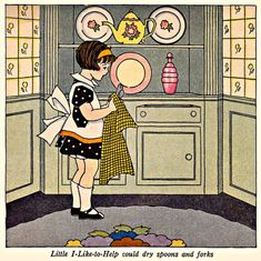 My Puzzles - Children - Vintage - Girl Helping With Chores 1920s