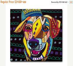 55% Off- Ceramic Tile Labrador Retriever art Tile Ceramic Coaster Mexican Folk Art Print of painting by Heather Galler dog (HG910)