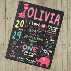 Custom girls wild one jungle chalkboard, pink, giraffe, elephant, First Birthday,  Chalk Board, poster  Sign Printable Size 16x20 photo prop