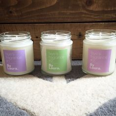 'Faye's Fragrance' numbers 1,2 and 3. A trio of scented candles made for my lovely mummy-to-be No1 a relaxing Lavender, Jasmine and Orange Blossom. No2- uplifting Peppermint, Eucalyptus and Cucumber. No3- everyday floral Rose, Lemon and Pomegranate.