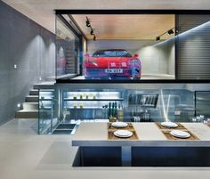 Residence home with a Ferrari in the living room