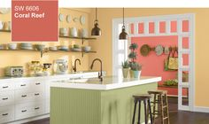 Coral Reef is Sherwin Williams Color of the Year for 2015. Here combined with Hubbard Squash (buttery yellow), Ryegrass (pea green) and Cotton White.