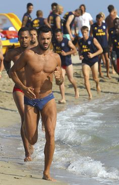 Raffaele Palladino of Parma FC trains on the shore during a Parma FC Pre-Season Training Session at Rosa Marina Resort on July 8, 2013 in Ostuni, Italy.