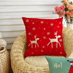 red christmas decorative pillows reindeer sofa cushions