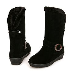 Warm Buckled Decoration Suede Mid Calf Snow Boots Black – teeteecee - fashion in style Snow Boots, Ugg Boots, Black Boots, Calves, Uggs, Warm, Decoration, Shoes, Women