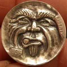 GORDON RAISTRICK HOBO NICKEL - LIP BURNING GOOD - 1936 BUFFALO NICKEL Hobo Nickel, Buffalo, Coins, Carving, Art, Art Background, Rooms, Wood Carvings, Kunst