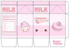 9 Best Images of Milk Kawaii Printable Papercraft - Kawaii Milk Carton Template, Cute Kawaii Milk Papercraft and Kawaii Milk Papercraft Printable Anime Crafts, Kawaii Crafts, Kawaii Diy, Diy Gift Box, Diy Gifts, Diy Paper, Paper Crafts, Doll Crafts, Paper Doll Template