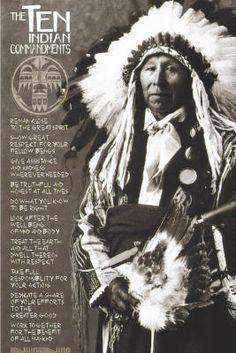 Ten Indian Commandments (Native American) Art Poster Print