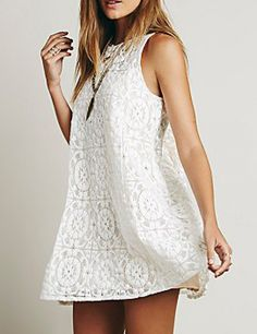 White Sleeveless Hollow Back Lace Dress