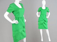Vintage 80s GUY LAROCHE Boutique Green Cotton Dress by ZeusVintage