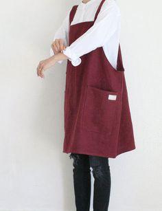 Linen Apron Dress. #apron