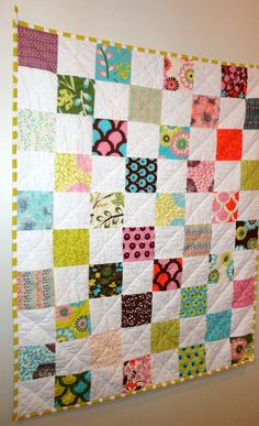 """Sugar Pop Quilt mod baby girl quilt  - 34""""x42"""" - with minky"""