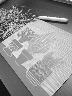 Printing - Linocut - Set Forth Studio – Cacti Linocut Print in Progress // Three cactus in decorative pots Graphic Artwork, Graphic Prints, Art Prints, Linoprint, Cactus Art, Tampons, Linocut Prints, Art Club, Gravure