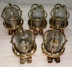 OLD ANTIQUE SALVAGE BRASS NAUTICAL SHIP BULKHEAD WALL LIGHT LOT OF 5 PCS