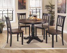 Owingsville Black - Brown Dining Room Table ( Base/Top )