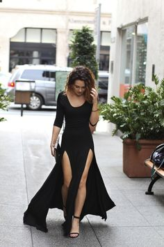 twist on a long black dress