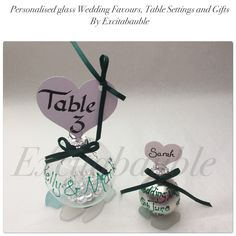 Green Personalised glass Wedding Favours, Table Settings and Gifts www.excitabauble.co.uk