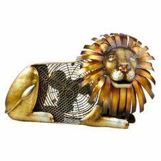 "Cast metal table fan with a whimsical lion design.   Product: FanConstruction Material: Cast metalColor: GoldFeatures:  Lion shapeTwo speed30 Watt motor Dimensions: 13.75"" H x 22.8"" W x 11.4"" D"