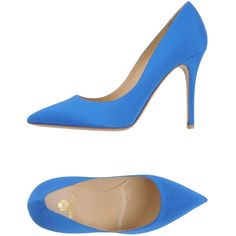 Semilla Court ($85) ❤ liked on Polyvore featuring shoes, pumps, heels, blue, spiked heel shoes, leather sole shoes, heel pump, blue shoes and blue pumps