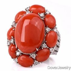 Estate-Diamond-18-80ct-Coral-18K-White-Gold-Cocktail-Ring-18-7-Grams-NR Coral Ring, Cocktail Rings, Antique Jewelry, White Gold, Jewellery, Gemstones, Crystals, Diamond, Bracelets