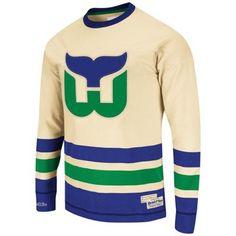 d1d9e4fff Mitchell   Ness Hartford Whalers Open Ice Long Sleeve T-Shirt - Cream Royal  Blue. Hartford Whalers