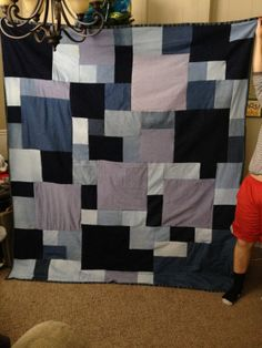 My daughter wanted a jean quilt, but not with all the same size squares. This is how it turned out.