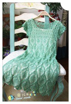编织天地: 绿漾~~~亮片菠萝裙