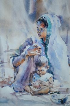 Woman Water color on paper by Ather Jamal Pakistani Artist. Size: 14 x 21 History Of Pakistan, Woman Painting, Painting Art, Art Gallery, Sketches, Watercolor, Artist Art, Homeland, Pakistani