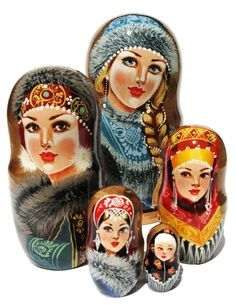 "Handmade collectible nesting doll.  Beauties #2 Russian Nesting Dolls (5-pc set) 7""H"