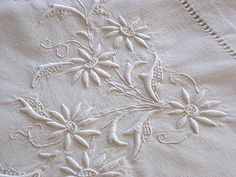 Antique Linens by Ems Heart- Antique French Linen Metis Monogrammed Sheet